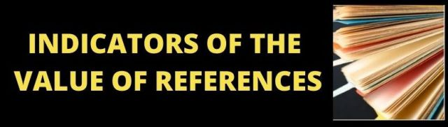 Indicators of the value of references